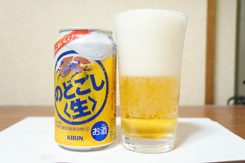 キリンのどごし〈生〉缶とグラス