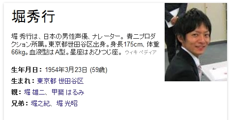 Googleナレッジグラフ「堀秀行」
