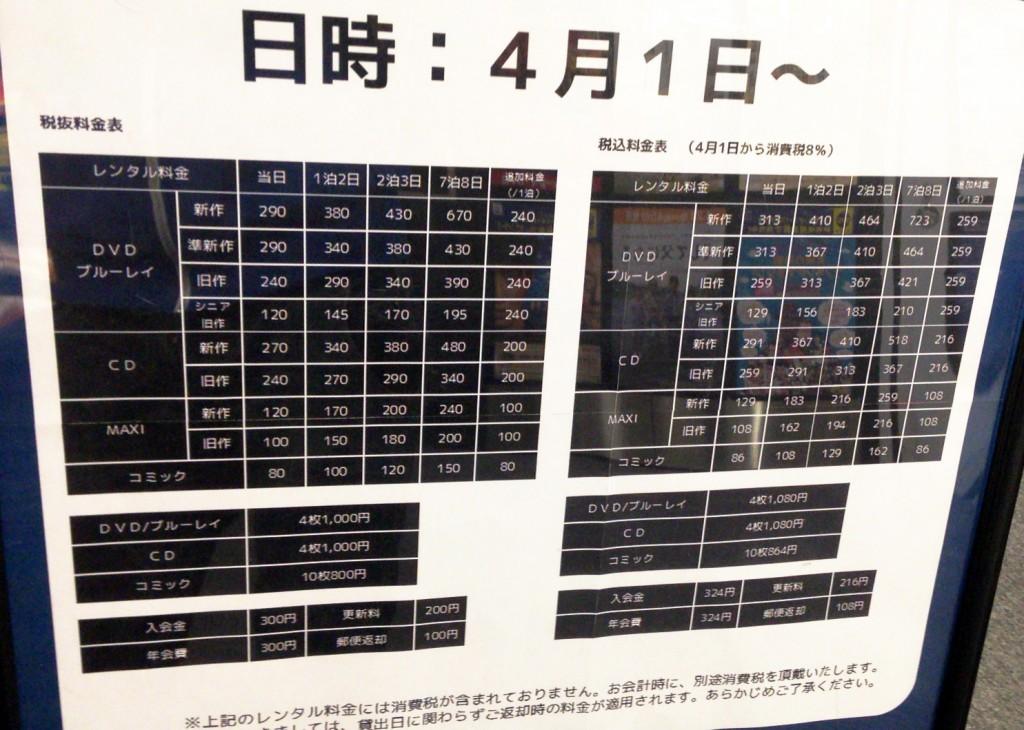 TSUTAYA 梅田堂山店の料金表